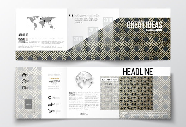 Set di brochure tri-fold, modelli di design quadrati. Vettore Premium