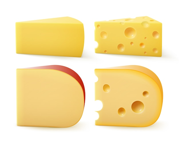 Set di pezzi triangolari di vari tipi di formaggio parmigiano svizzero gouda edem close up isolato