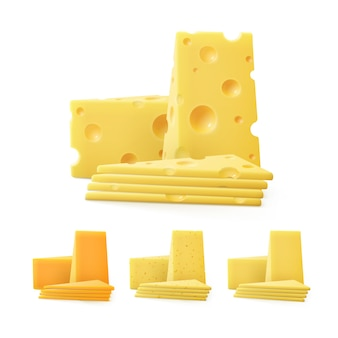 Set di pezzi triangolari a fette di vari tipi di formaggio