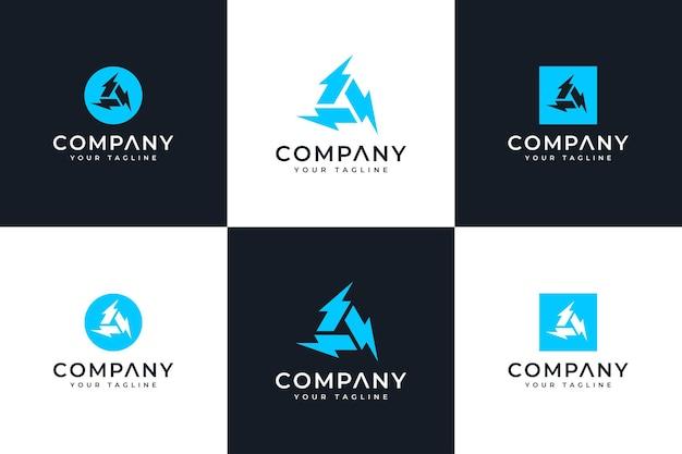 Set di design creativo con logo a triplo bullone per tutti gli usi