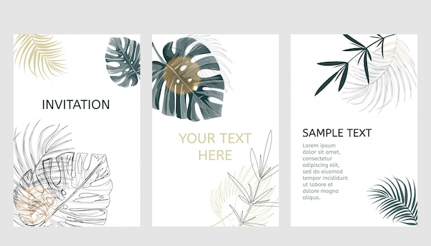 Set di carte di design tropicale.