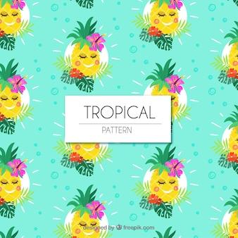 Insieme di modelli tropicali con ananas carino in stile piatto