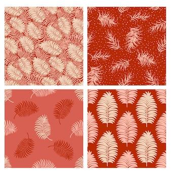 Set di motivi tropicali con foglie di palma minime