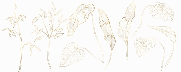 Set di piante tropicali per arredamento tessile, banner web, social network