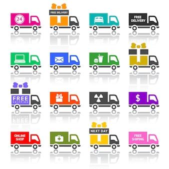 Set di icone colorate di camion