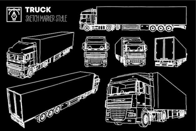Set di viste del camion. disegni effetto pennarello. sagome modificabili.