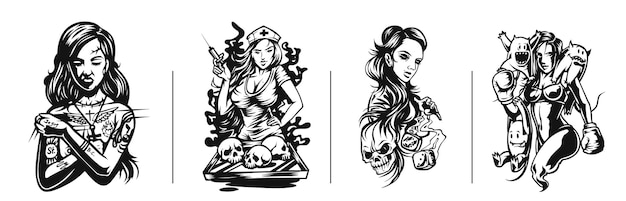 Set di tshirt design art nouveau tatuaggio donna e tshirt design