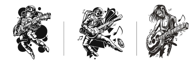 Set di tshirt design astronaut in playing guitar