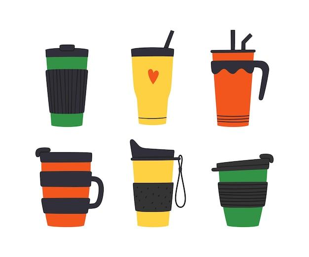 Set di bicchieri con tappo, manico e cannuccia