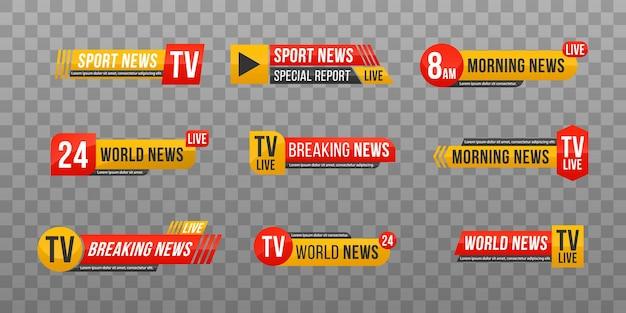 Set di barra delle notizie tv banner delle notizie per lo streaming tv testo del banner delle ultime notizie