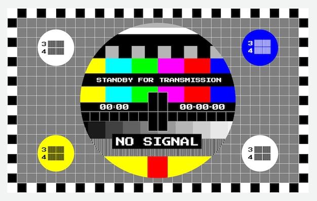 Set di tv nessun segnale di sfondo o prova del colore dello schermo televisione o prova tecnica più difficile