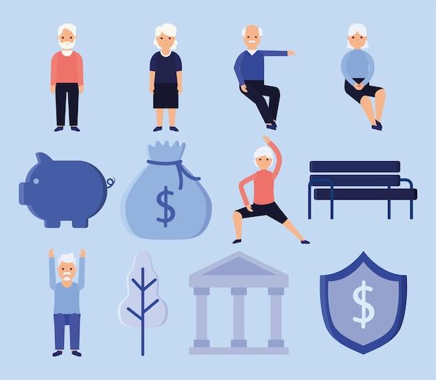 Set di dodici articoli per la pensione