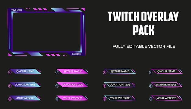 Set di overlay twitch, pannelli di streaming o template dei terzi inferiori
