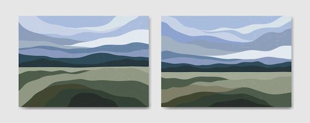 Set di due poster boho contemporaneo del paesaggio moderno della metà del secolo estetico astratto