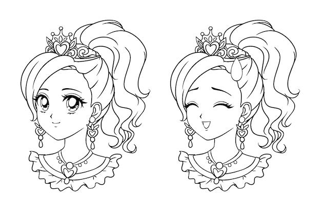 Set di due simpatici ritratti di manga principessa. due espressioni diverse. illustrazione di contorno disegnata a mano stile retrò anime. isolato su sfondo bianco