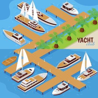 Set di due illustrazioni isometriche orizzontali con peer yacht club e navi