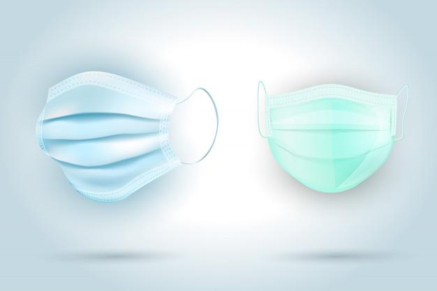 Set di due maschere protettive isolate, realistiche maschere mediche 3d per la protezione covida 19 coronavirus, vettoriale