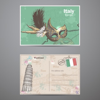 Un insieme di due lati di una cartolina sul tema dell'italia