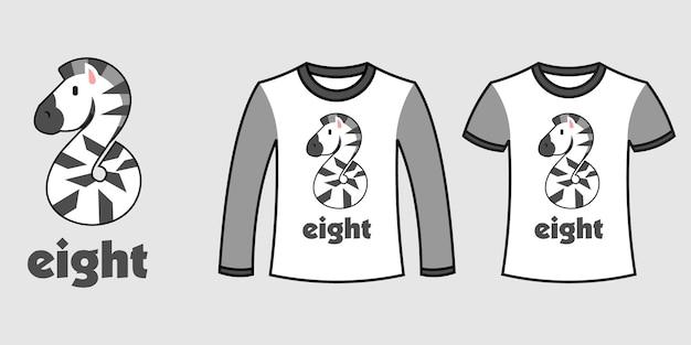 Set di due tipi di vestiti con il numero otto a forma di zebra su t-shirt vettoriali gratis