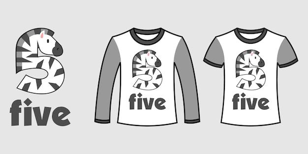 Set di due tipi di vestiti con il numero cinque a forma di zebra su t-shirt vettoriali gratis