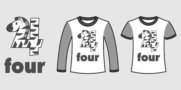 Set di due tipi di vestiti con il numero quattro a forma di zebra su t-shirt vettoriali gratis