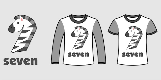 Set di due tipi di vestiti con il numero sette a forma di zebra su t-shirt vettoriali gratis