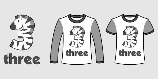 Set di due tipi di vestiti con il numero tre a forma di zebra su t-shirt vettoriali gratis