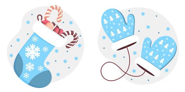 Un set di due opzioni di abbigliamento invernale. ritagli e calza di natale con regali.