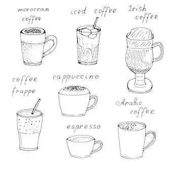 Set di tipi di caffè in tazze e bicchieri con iscrizioni, illustrazione vettoriale, disegno a mano, schizzo