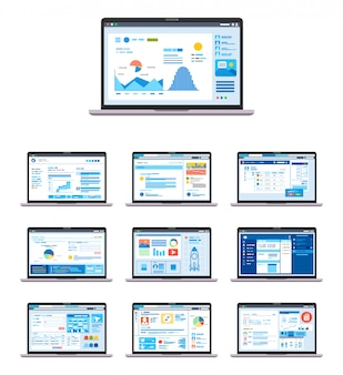 Set di modelli di interfaccia utente grafica ui, ux, gui