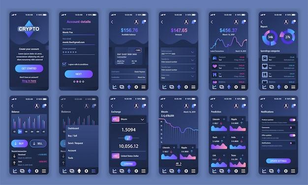Set di ui, ux, schermate gui app di cryptocurrency piatta