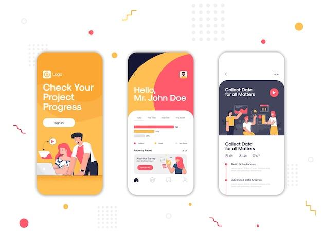 Set di ui, ux, schermate gui gestisci la tua app per il flusso di lavoro