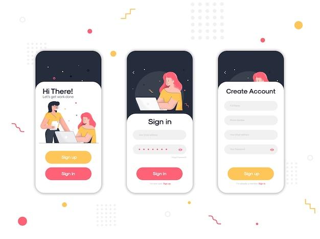 Set di ui, ux, schermate gui della pagina di accesso