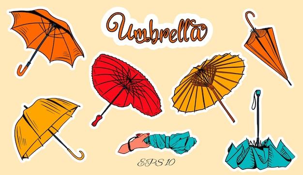 Set di ombrelloni. stile cartone animato. ombrelli cinesi differenti, ombrello chiuso in mano a forma di cuore.