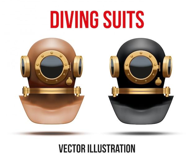 Set di casco per muta subacquea.