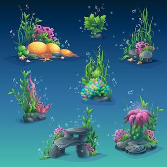 Insieme di oggetti sottomarini. alghe, bolle, pietre.