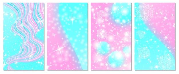 Set di sfondo arcobaleno unicorno. colori rosa, blu. sfondo di principesse, biglietto d'invito.