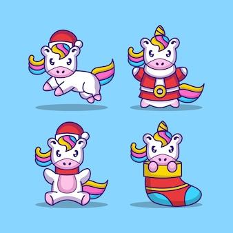 Set unicorno con costume natalizio
