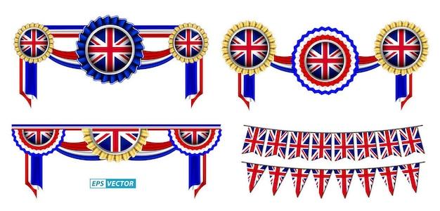 Set di clipart bandiera del regno unito isolato con vari badge