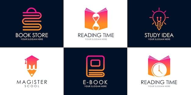 Set di università, accademia, scuola, istruzione, tempo di studio e modello di progettazione del logo del corso vettore premium