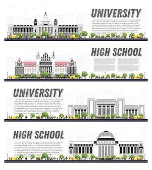 Set di banner di studio del campus universitario isolato su bianco. illustrazione di vettore. studenti vai all'edificio principale dell'università. orizzonte con albero verde. banner con copia spazio.