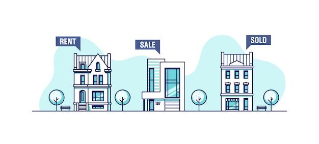 Insieme di case urbane concetto di affari immobiliari