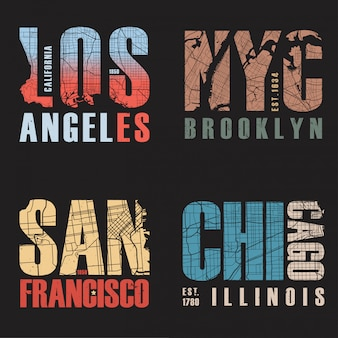 Set di noi disegni di t-shirt città. illustrazione vettoriale