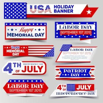 Set di banner vacanza usa. 4 luglio, giorno della memoria, festa del lavoro, festa del patriota