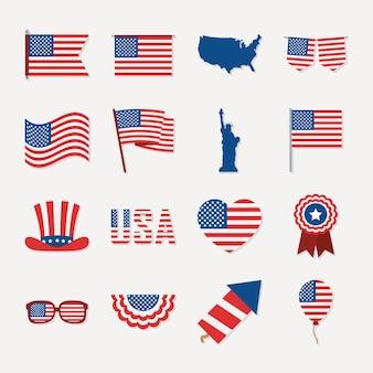 Set di icone dell'indipendenza degli stati uniti