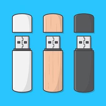 Set di usb memory stick icona illustrazione. icona piana di unità flash usb