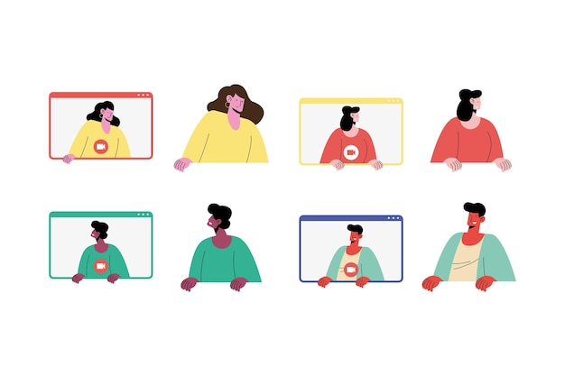 Set di profili utente amano il design dell'illustrazione di appuntamenti online app