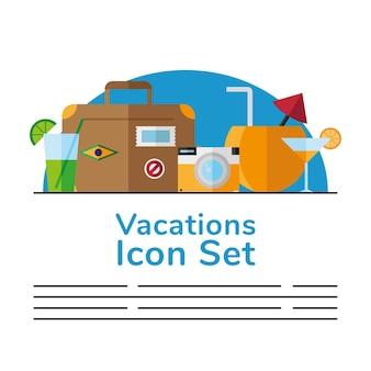 Set di vacanze viaggi icone e scritte