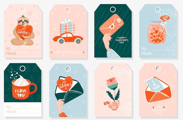 Set di tag regalo di san valentino.