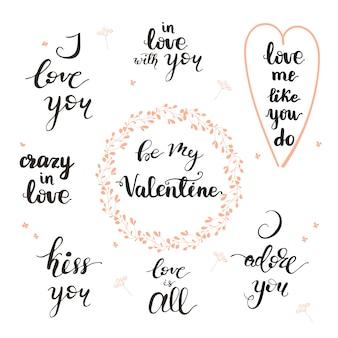 Set di frasi scritte di san valentino. illustrazione vettoriale